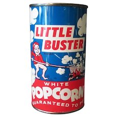 Vintage Unopened Popcorn Tin - Little Buster Pop Corn from Illinois