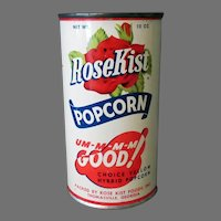 Vintage Unopened Popcorn Tin - Unopened Rose Kist Pop Corn with Recipes