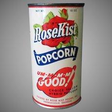 Vintage Unopened Popcorn Tin - Unopened Rose Kist Pop Corn with Recipes
