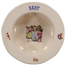 Small Vintage Baby Plate – Bowl with Children and Toys - Czechoslovakia