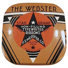 Vintage Typewriter Ribbon Tin - Small Size Webster Star Brand