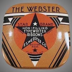 Vintage Typewriter Ribbon Tin - Small Size Webster Star Brand