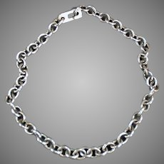 "Vintage 7 1/2"" Long, Silver Charm Bracelet Chain"