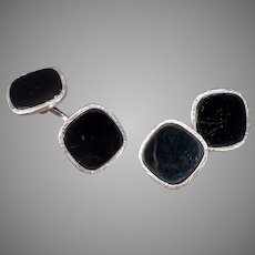 Vintage Swank Black and Silver Cuff Links - Loose Chain Style