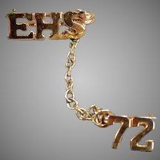 1972 High School Class Pin - EHS - Estate Jewelry