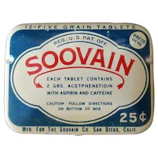 Vintage Medicine Tin – Soovain Aspirin Medical Tin