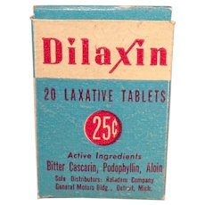 Vintage Dilaxin Laxative Box - Medicine Advertising