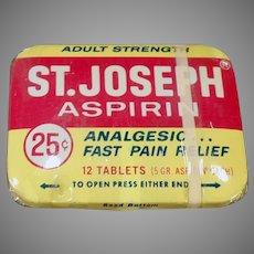 Vintage Medicine Advertising Tin - St.Joseph Aspirin Tin with Original Wrapping