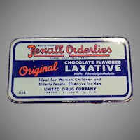 Vintage Rexall Orderlies Chocolate Laxative Tin - Old Advertising Tin