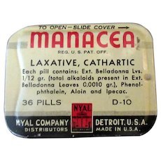 Vintage Medicine Advertising – Nyal Manacea Laxative Tin