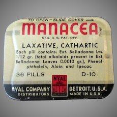 Vintage Medicine Advertising – Nyal Manacea Laxative Tin