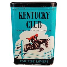 Vintage Kentucky Club Pipe and Cigarette Tobacco Vertical Pocket Tin