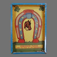 Vintage Horseshoe Dexterity Puzzle Game - Get the Nails in the Horseshoe