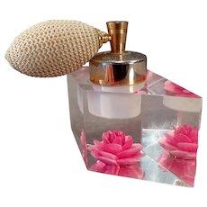 Vintage Evans Perfume Atomizer – Lucite with Brilliant Pink Flower