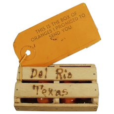 Vintage Mailer - Texas Promotional Orange Crate - Del Rio Texas Souvenir
