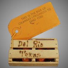 Vintage Mailer - Texas Promotional Orange Crate - Del Rio Texas Souvenir