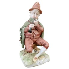Vintage Capodimonte Pucci Porcelain Bisque Figurine of a Man with Horn - Italy