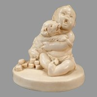 Vintage Catherine McCullough Figurine - Adorable Puppy Dog Licking Baby