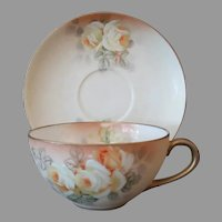 Vintage Royal Bayreuth, Hand Painted Ivory Cup & Saucer with Yellow Roses