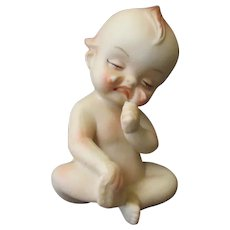 Vintage Porcelain Kewpie – Crying Baby Figurine with Hurt Foot