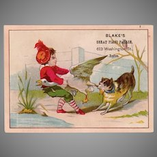 Vintage Victorian Advertising Trade Card - Blake's Great Piano Palace Tug-o-War