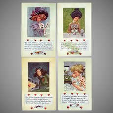 Four Vintage Valentine Postcards – Life Comic Series – Lovely and Humorous