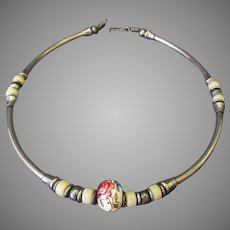 Interesting Vintage Choker Necklace – Silver Tone with Ceramic Beads