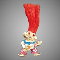 Vintage L.Razza Orange Haired Troll Doll Necklace Pendant Costume Jewelry