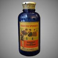 Large Vintage Cobalt Blue Glass Bottle with Magnesia Spumante Paper Label - Spokane Washington