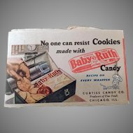 Vintage Baby Ruth Lipstick Tissues with Candy Bar Cookie Recipe & Kleenex Advertising
