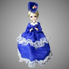 Vintage Big Eye Fashion Doll in Royal Blue Dress and Fancy Hat – Korea