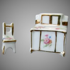 Vintage Miniature Porcelain Furniture - Sideboard and Chair with Floral Design