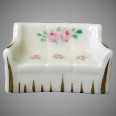 Vintage Miniature Porcelain Sofa Couch with Floral Design Stamped Rose Crown