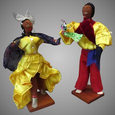 Vintage Cloth Doll Set – Dancing Cuban Couple with Bright Costumes