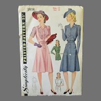 Vintage 1940's Fashions for Misses' Women's Shirtmaker Dress -Simplicity #3898 Pattern Size 12
