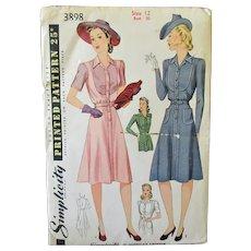 Vintage 1940's Fashions for Misses' Women's Shirtmaker Dress -Simplicity #3898 Pattern Size 12