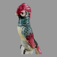 Colorful Vintage Flower Frog Bird with Long Tail Feathers - Nice Colors