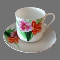 Vintage Cup & Saucer – Thin Porcelain with Colorful Flowers - Occupied Japan