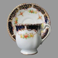 Vintage Royal Standard Bone China Cup & Saucer in Royal Blue with Gold Trim