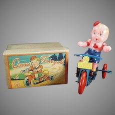 Vintage Occupied Japan Wind Up - Celluloid Boy, Tin Tricycle Toy with Original Box
