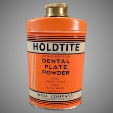 Vintage Holdtite Denture/Dental Plate Powder Tin