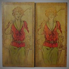 Vintage Pyrography – Stationery/Hankie Box with Golf Girls - Painted Wood Burned Box
