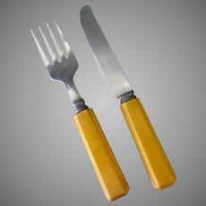 Child's Vintage Fork & Knife Set - Flatware with Bakelite Handles