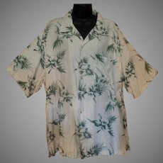 Vintage Hawaiian Style Knightbridge Casual Shirt with Orchid Flower Design - Large