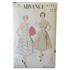 Vintage 1940's/1950's Princess Sundress & Bolero -  Advance #6723 Uncut Pattern Size 16