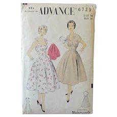 Vintage 1940's/1950's Princess Sundress & Bolero -  Advance #6723 Uncut Pattern Size 16