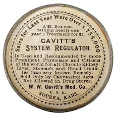 Vintage Medical Advertising Mirror for Gavitt's System Regulator Laxative