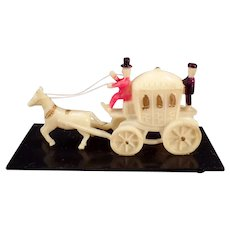 Vintage Miniature Celluloid Horse Drawn Princess Carriage Toy