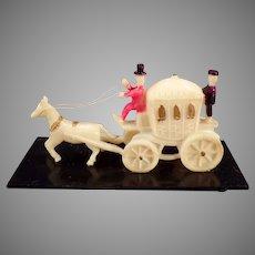 Vintage Miniature Celluloid Horse Drawn Princess Carriage Toy