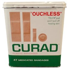 Vintage Curad Ouchless Band-aid Tin with Assorted Bandage Sizes Shown